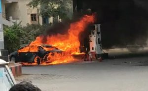 Skoda Superb Bursts Into Flames At Petrol Pump In Hyderabad
