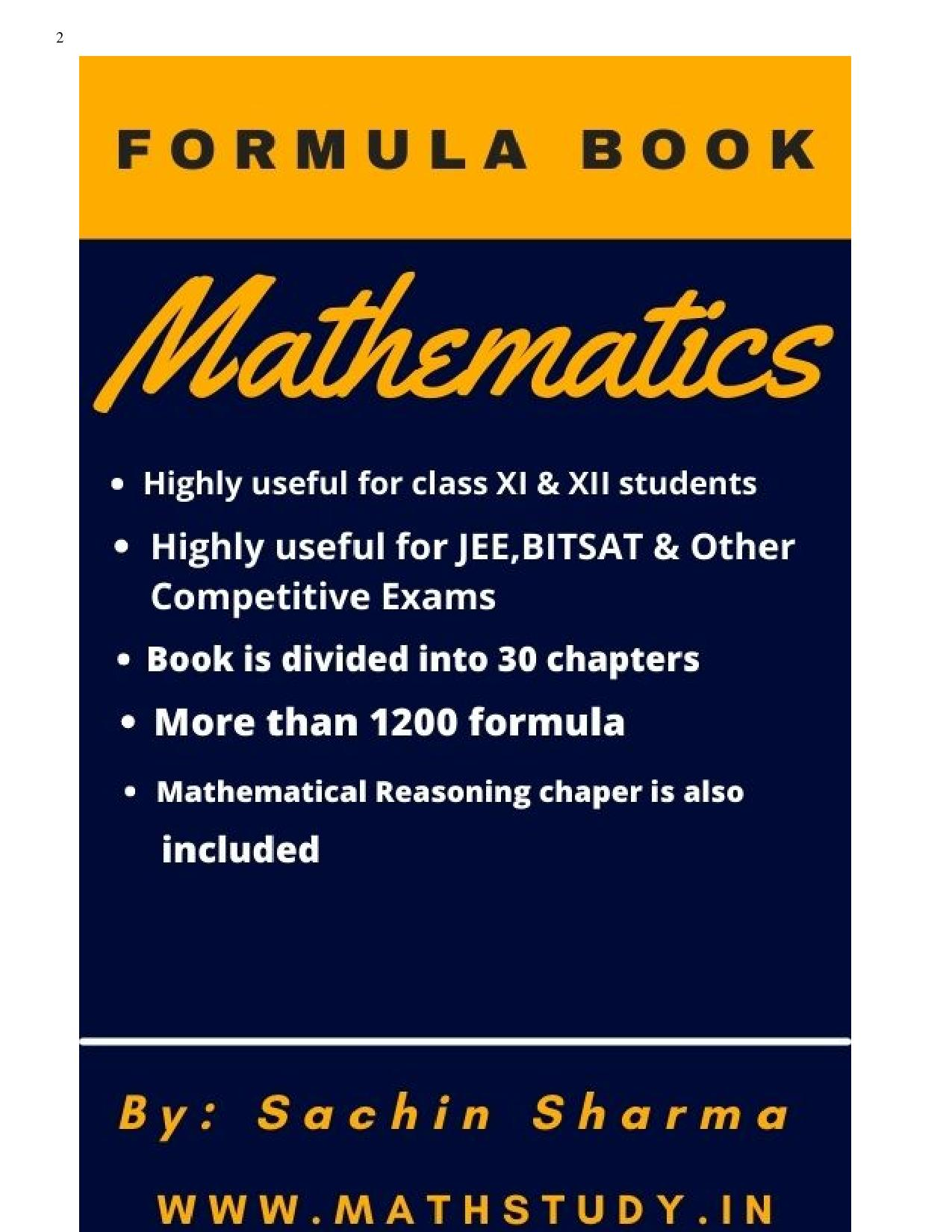 Mathematics Formula Book